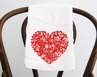 Flour Sack Towel  Scroll Heart