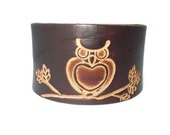 Brown leather cuff featuring owl, owl leather cuff,