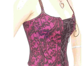 Steampunk CORSET -  Black Chantilly Lace on Passion Pink  - Size  XL  - Festival BODiCE - SALE