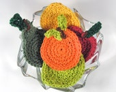 Face scrubbies cotton set of five fruit red apple green pear orange lime lemon