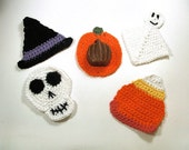 Halloween kids wash cloths set of 5 spooky shapes pumpkin skull ghost  witch hat and candy corn