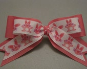 EASTER BUNNY DOG Bow Pink Bunny Print Velcro Straps ((Perfect for all sizes))