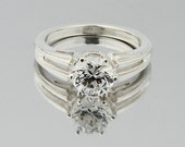 Solid  Sterling Silver Ladies CZ Solitaire Engagement Ring