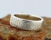 Resevered for  Megan,  Your Custom Fingerprint Ring - 14k white gold Engraving Wedding Band