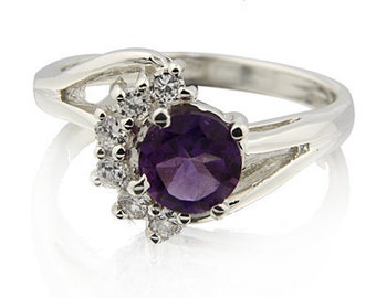 6mm t Natural Amethyst Solid 14K White Gold Diamond Ring