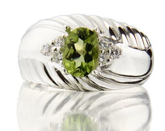 7x5mm  Natural Peridot Solid 14K White Gold Diamond Ring