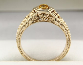Natural Yellow Sapphire Solid 14K antique Yellow Gold Ring