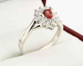 Natural Orange Sapphire Solid 14K White Gold Diamond Ring