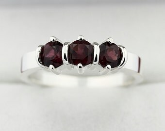 3 stones Natural Red Violet Rhodolite Garnet Solid 14K White Gold Ring