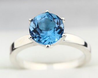 Natural  8MM Swiss Blue Topaz Solid 14K White Gold Solitaire Ring