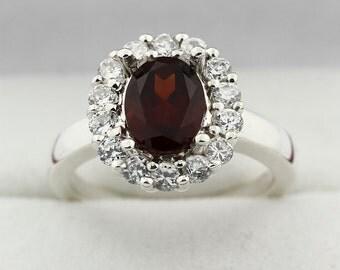 8x6mm  Natural Garnet  Solid 14K White Gold Diamond Ring