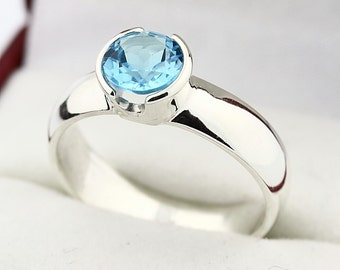 Natural  6MM Swiss Blue Topaz Solid 14K White Gold Ring