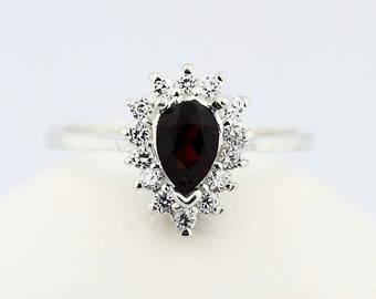 Natural  Garnet  Solid 14K White Gold Diamond Ring
