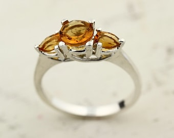 Yellow Citrine Solid 14K White Gold Diamond Ring