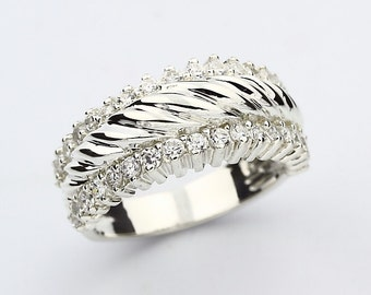 Special OFFER Natural Diamond Wedding Band Ring 14k White Gold