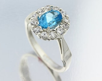 Natural  Oval  Swiss Blue Topaz Solid 14K White Gold Diamond  Ring