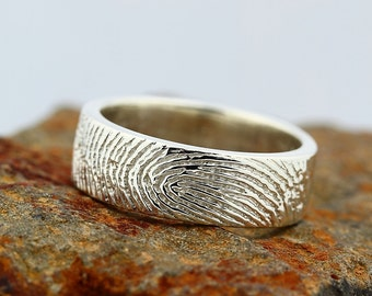 Your Custom Fingerprint Ring - Sterling Silver Engraving Wedding Band - non blackened,6mm, finger print