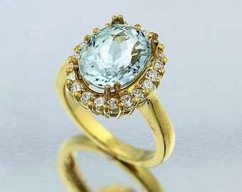 Natural AAA Light  Blue Aquamarine Solid 14K Yellow Gold Diamond Ring