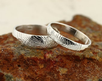 Custom Fingerprint Ring set - Sterling Silver Custom Wedding or Commitment Band -non blackened,6mm,4mm
