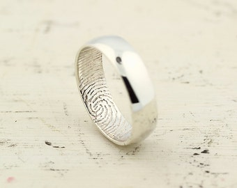 Custom Inner Fingerprint Ring - Sterling Silver Engraving Wedding Band-non blackened,6mm