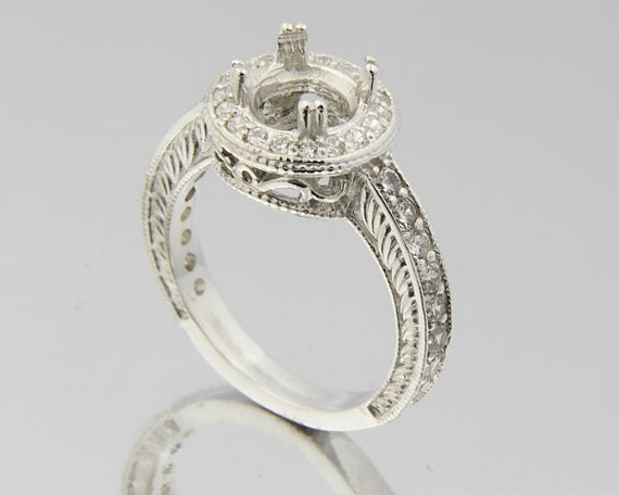 7MM Round Vintage Sterling Silver Antique Ring Setting
