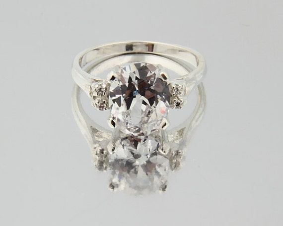 3.0 Cubic Zirconia  Solid  Sterling Silver Oval  Engagement Ring.
