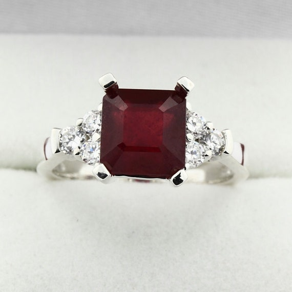Natural Ruby Solid  14k white gold engagement  Ring