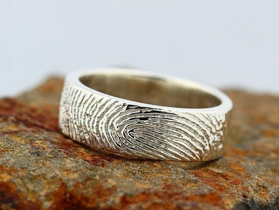 Your Custom Fingerprint Ring - Sterling Silver Engraving Wedding Band - non blackened,6mm, finger print