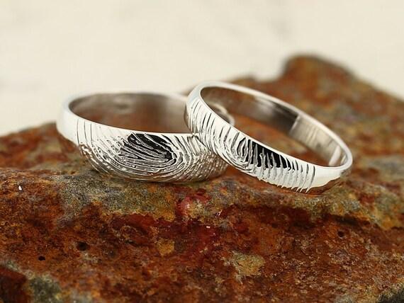 Your Custom Fingerprint Ring - 14K White Gold Engraving Wedding Band set-non blackened,6mm,4mm