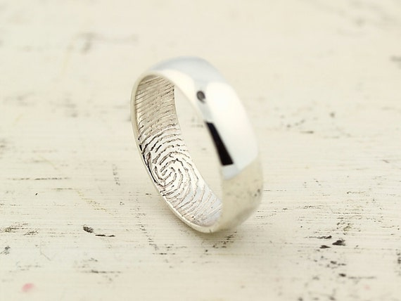 Custom Inner Fingerprint Ring - Sterling Silver Engraving Wedding Band-non blackened,6mm