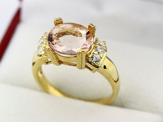 Stunning AAA  Natural Morganite  Solid 14K Yellow Gold Diamond Ring