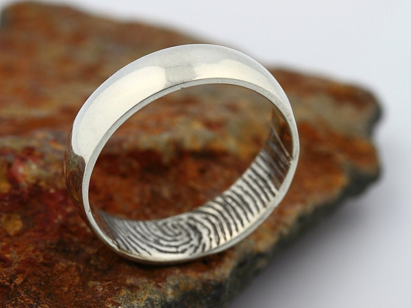 Custom Inner Fingerprint Ring Sterling Silver Engraving