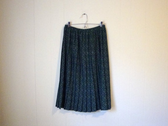 Vintage PLEATED Skirt - Green Print - Retro Swing - MIDI SKIRT