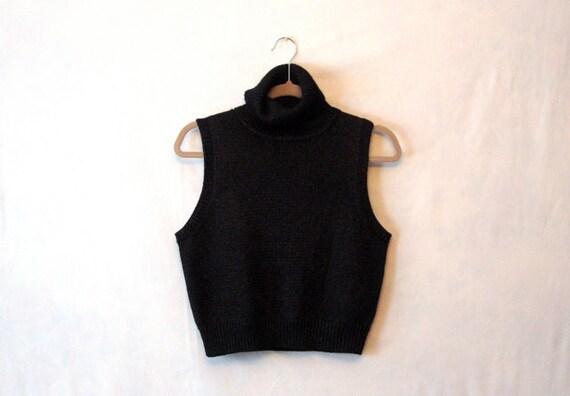 CLEARANCE - Black SHIMMER - Turtleneck Sleeveless Top - Sparkle Shirt