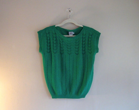 GREEN RETRO Top - Kelly GREEN Sweater Top