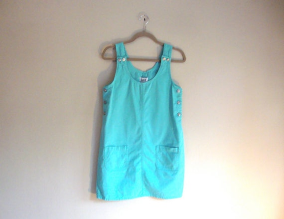 Light Mint DRESS - Denim Bib Dress - Romper Style Dress - PASTEL Aqua Denim