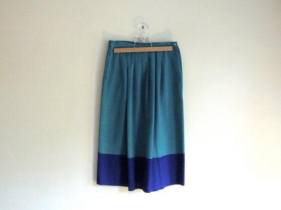 SALE - Teal & Purple Color Block Skirt - VINTAGE Trend Skirt