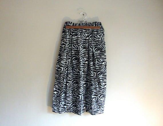 Zebra Print Skirt - Animal Print Inspired - Black & White - Mid-Waist SKIRT