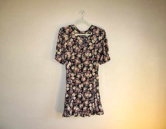 Floral RETRO Dress - Grunge Vintage Short Flirty Dress - Layering Dress
