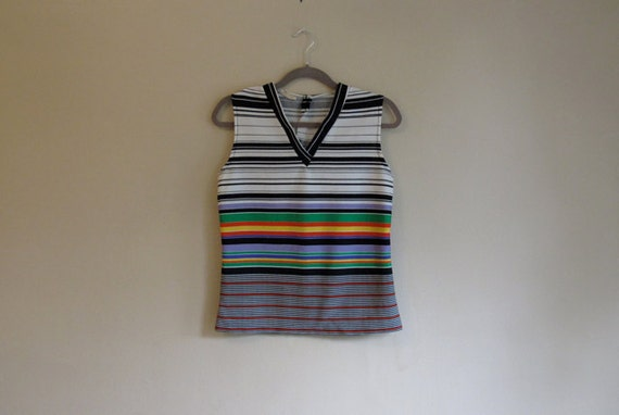 SALE - Rainbow Stripes Black & White Lined V Neck - Sleeveless 60s Top