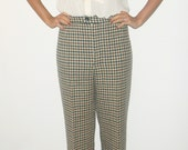 Vintage Checked Wide-Leg Wool Trousers