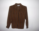 Vintage Striped Button Down Blouse