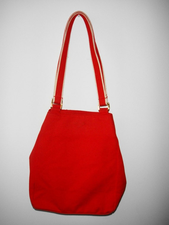 Vintage Red Canvas Tote