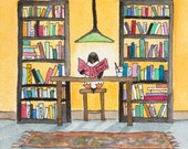 Sunny Spots - penguin at the library -  print