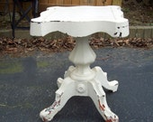 Lovely Victorian Carved Pedestal Side Table White Marble Top Insert