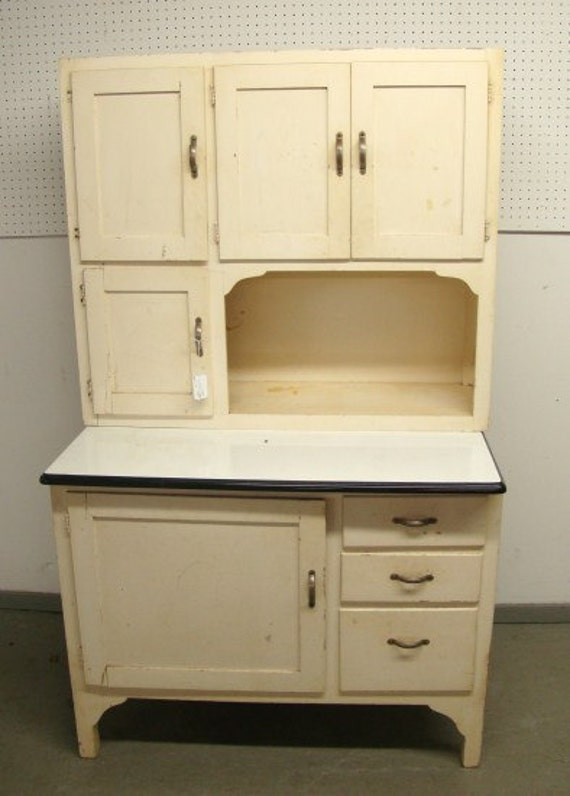 Vintage white hoosier kitchen cabinet by roosterriver on etsy for Antique white kitchen cabinets for sale