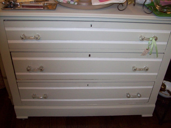 SOLD to Jill S.Cottage Pine Dresser the Palest Green Grey finish white trim and Vintage glass pulls