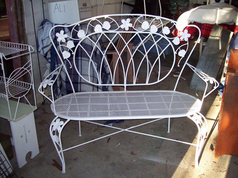 White Wrought Iron Vintage 1930 39 S Garden Bench Setee