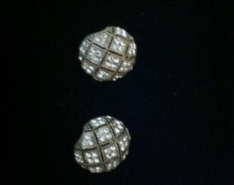 Clip on Vintage Silver Rhinestone Earrings
