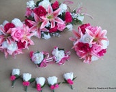 CUSTOM 10 pieces LiLY and RoSe WeDDiNG FLoWeR  Package BeaUTiFuL SHaDeS oF PiNK